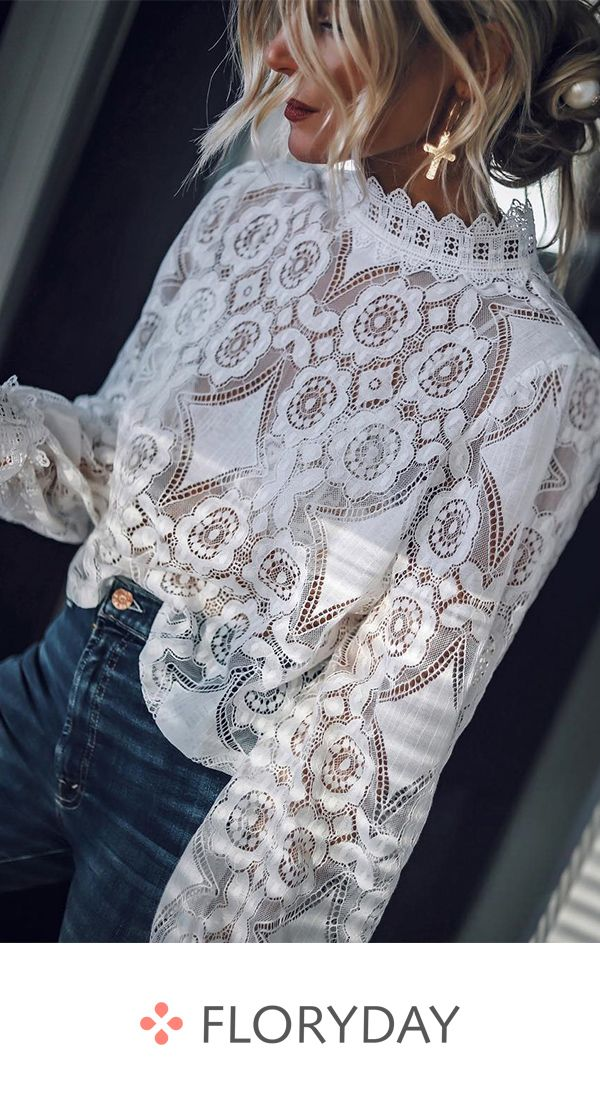 Elegant long sleeve blouse with round neckline