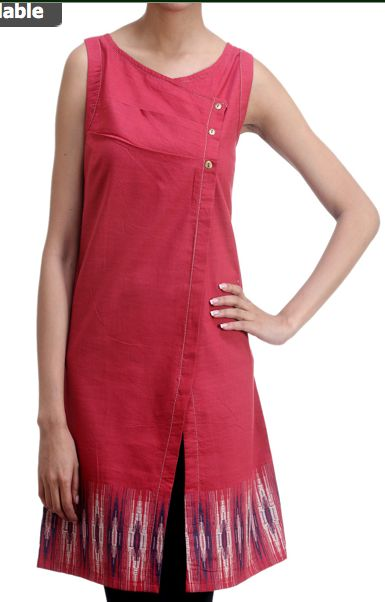 Like the potential this asymmetrical front dress has for handwoven fabric - Khadi Kurta. Khadi is an Indian handspun and hand-woven cloth.