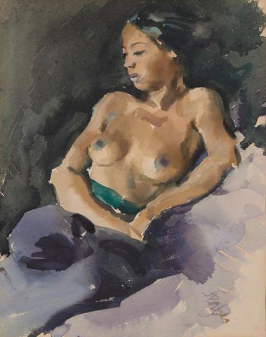 Roland Strasser (Austrian, 1895-1974)  Untitled (Topless Woman)
