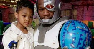50 Cents shared the photos and wrote: Lol 😏 the kid said he want a cyborg I…