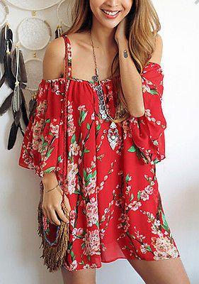 Summer Style Women dresses Batwing Sleeve Floral Chiffon dress sexy off-shoulder Beach dresses