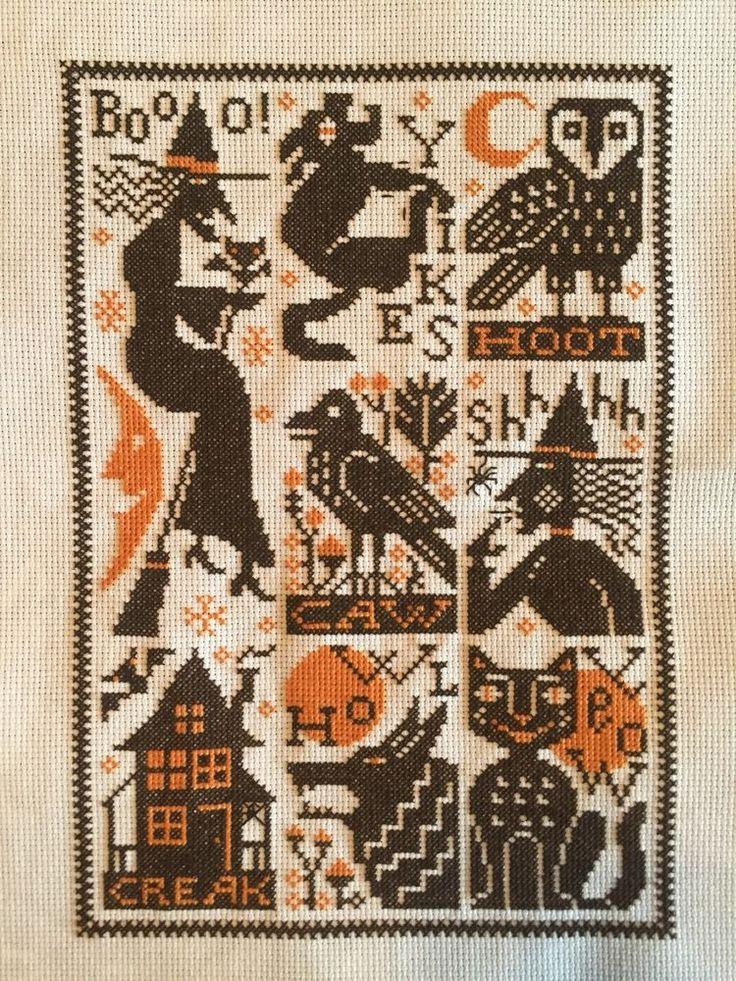 completed cross stitch Prairie Schooler Halloween witches sampler