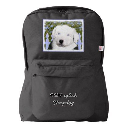 Inspirational Old English Sheepdog American Apparel Backpack by alpendesigns cyo diy customize personalize unique
