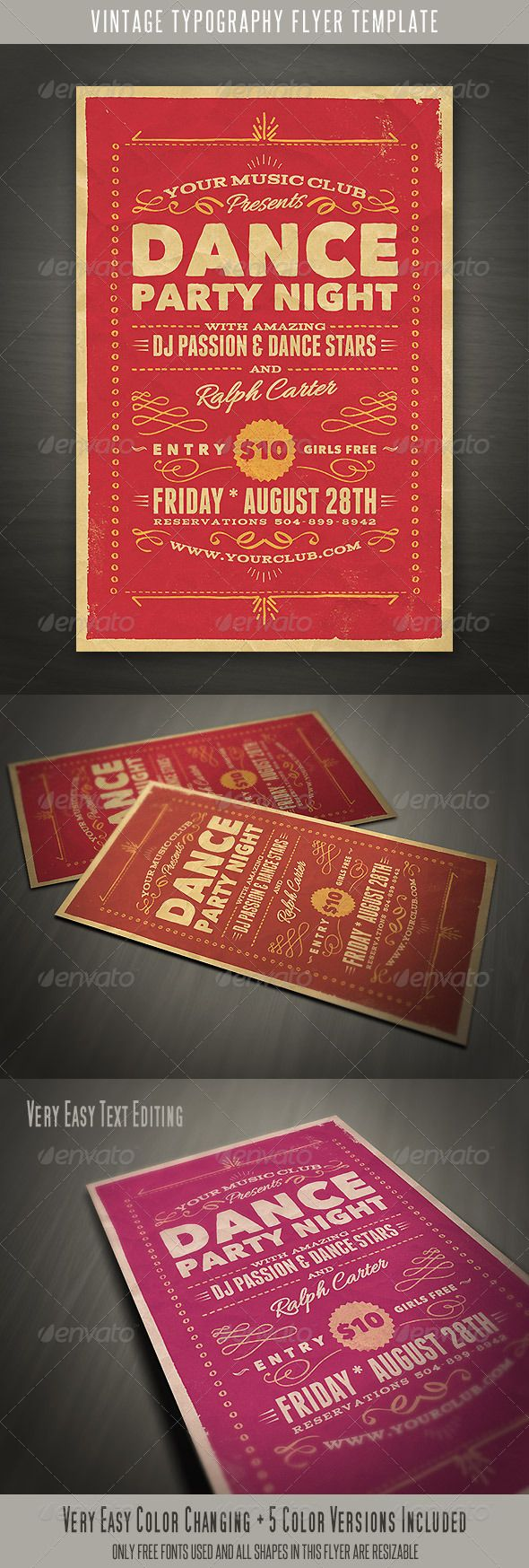 Vintage Style Typography Flyer — Photoshop PSD #fonts #minimalistic • Available here → https://graphicriver.net/item/vintage-style-typography-flyer-/5246393?ref=pxcr