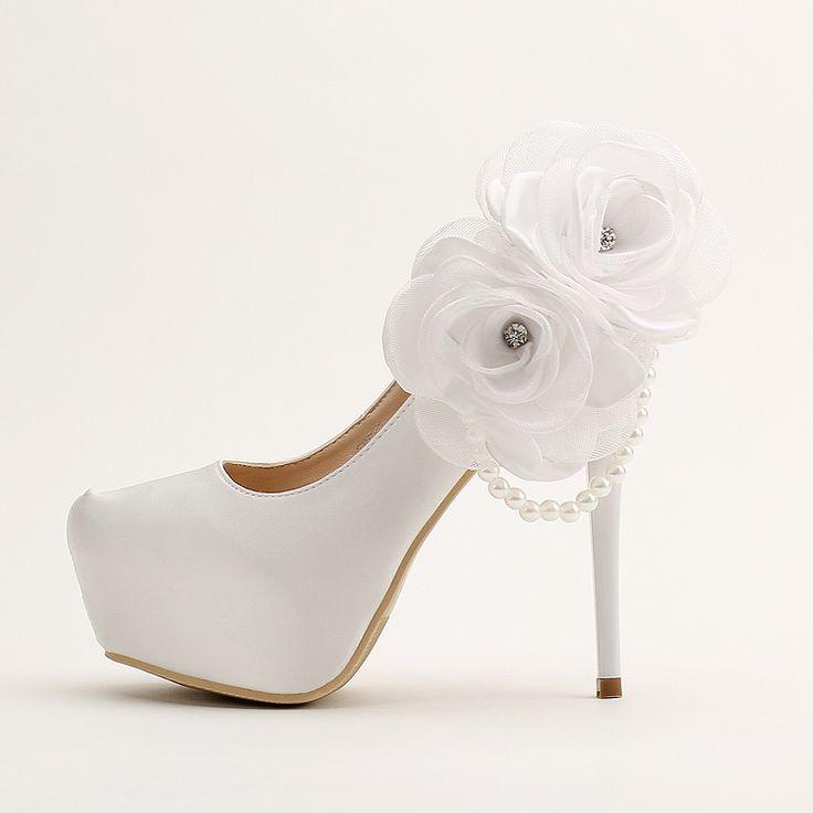 Мода свадебная обувь насосы женщин на высоких каблуках тонкие каблуки насосы обувь белые цветы высокие каблуки платформы свадебные туфли принцессы