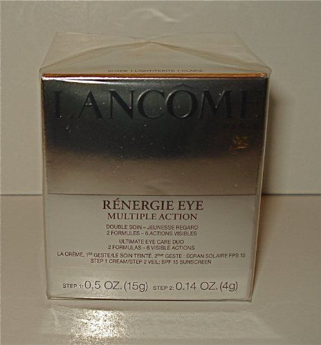 Lancome Renergie Eye Multiple Action Eye Care Duo - 2 Formulas - # 1 Light by Lancome. $74.50. New - Unboxed. Step 1: Cream - 5 oz / 15 g. Step 2. Veil w/ Spf 15 Sunscreen - .14 oz / 4 g. me Renergie Eye Multiple Action Eye Care Duo - 2 Formulas - 6 Visible Actions. A unique combination of two treatments for six visible anti-aging actions.Eyelids are visibly liftedThe appearance of fine lines and wrinkles is virtually erased. The eye contour looks firmer. Under-eye...