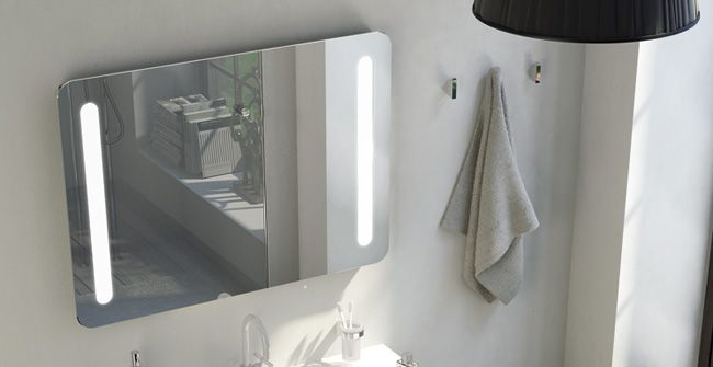 SONGE serie.  5 mm beveled glass integrated light mirror plate.  IP 44.  Lamps (2 x 18W T8)