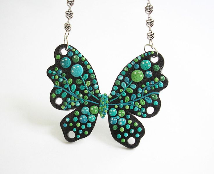 Butterfly Kiss / Handmade polymer clay necklace by ekArtis on Etsy