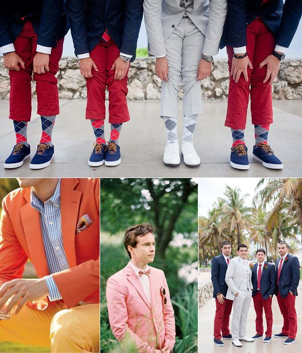 Colorful grooms and groomsmen | The Wedding Scoop Spotlight: Grooms and Groomsmen Style Trends