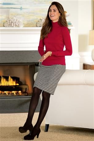 houndstooth check skirt, red silk sweater, suede pumps