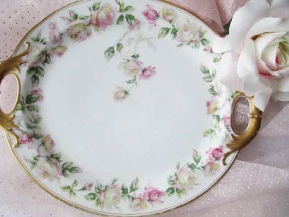 Limoges Haviland Vintage rose vert Floral servant de plateau