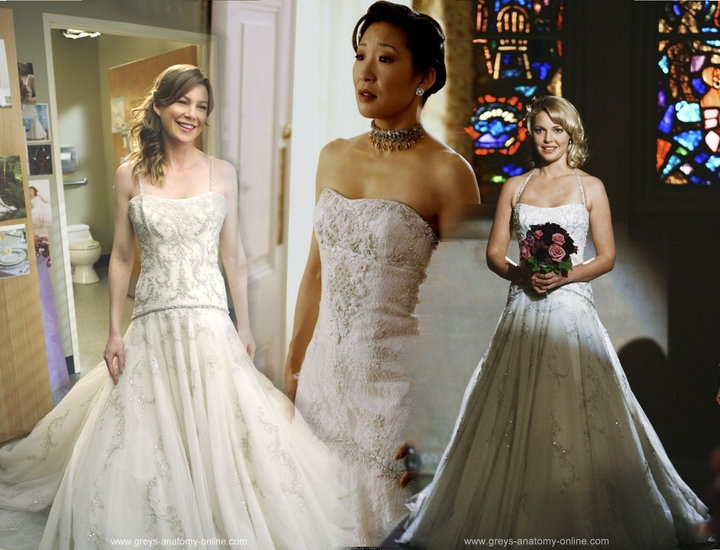meredith cristina and izzie in their wedding dresses