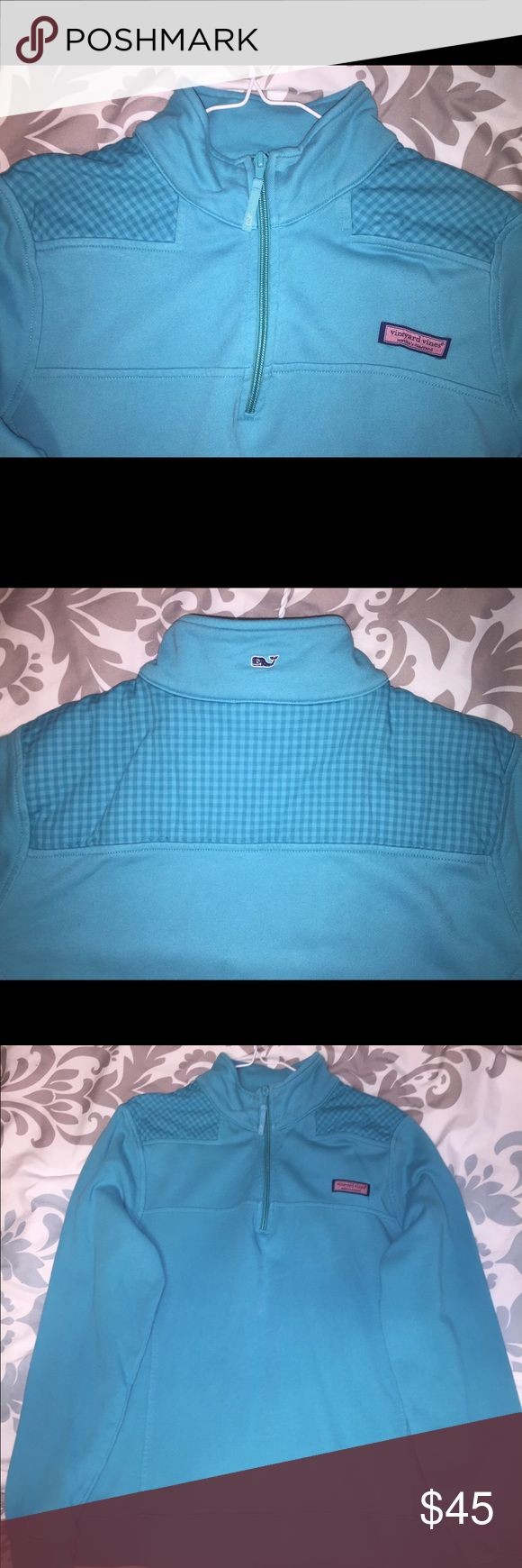 Vineyard Vines blue gingham shepshirt pullover This is a blue Vineyard Vines pullover with a blue gingham panel. It's in great condition but it does have a stain smaller than the size of a pencil eraser on it which I took a picture of. Please let me know if you have any questions! Vineyard Vines Tops Sweatshirts & Hoodies