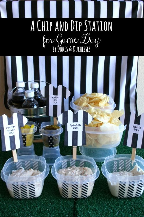 A Chip and Dip Station for Game Day - a referee-themed chip and dip station