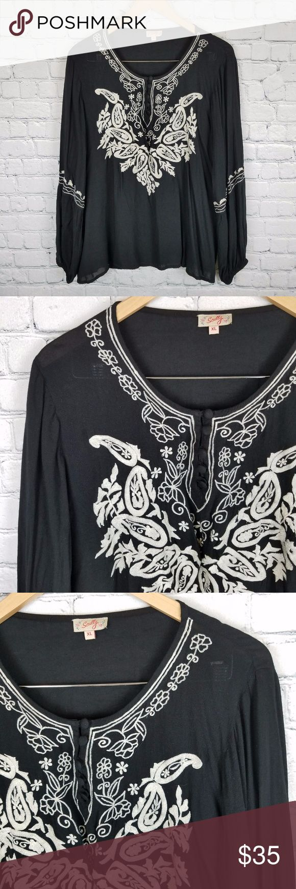 "Scully XL Boho Western Shirt Embroidered Women's black and white embroidered, long sleeve, shirt from Scully. Shirt is in excellent condition, free from any flaws or signs of wear. Comes from a some free home. Shirt is lightweight making it a little sheer. Size is a large and it measures as follows, laying flat:  Sleeve length-22"" Length-26"" Bust-23.5""  Thanks for looking! Scully Tops Blouses"
