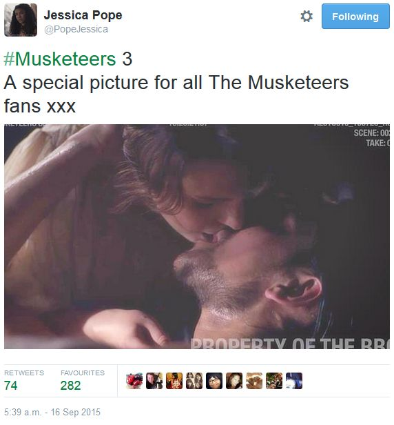 The Musketeers - Series III BtS filming via Jessica Pope's Twitter (Constance & D'Artagnan) <3
