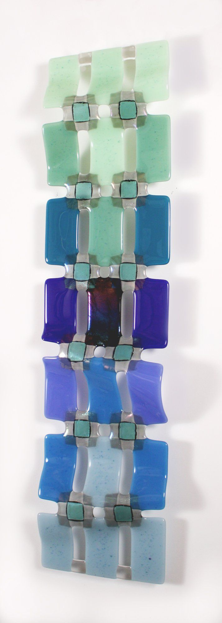 Wall art 100 x 70 - Graduated Grid Green To Blue By Nina Cambron Art Glass Wall Sculpture