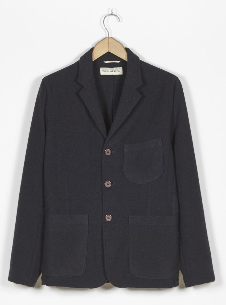 Universal Works Suit Jacket in Navy Soft Wool