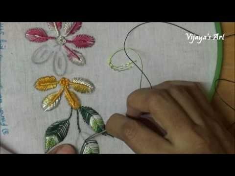 Hand Embroidery Flower Work Designs # 101-Vintage flower Design - YouTube