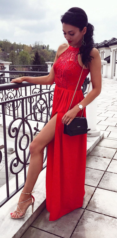 Czerwona długa sukienka na wesele Red gown for wedding  www.illuminate.pl