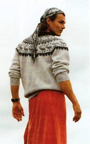 Morten Harket in a Lillunn sweater and skirt