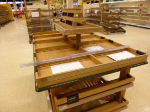 Wooden-style display for fresh bread at Tesco Extra, Gateshead (17 May 2013). Photograph by Graham Soult