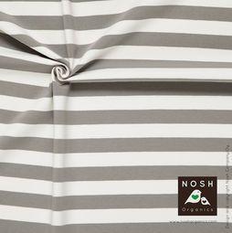 Organic cotton Jersey 2+2cm Stripes Gray/ Natural
