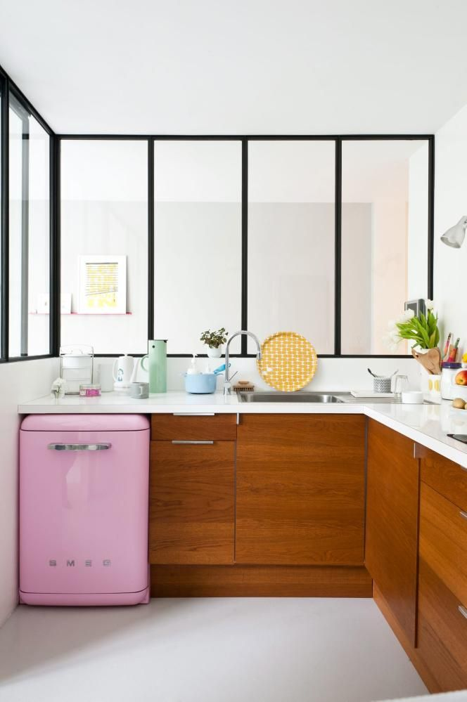 I Would Never Dream Of Putting These Colors And Finishes Together,  Especially With A Pink Smeg, But This Is A Fresh And Happy Kitchen!