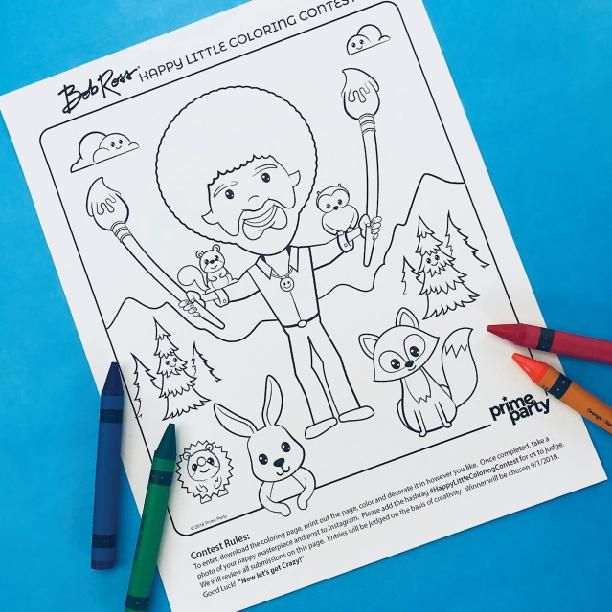 Bob Ross And Friends Happy Little Coloring Contest Printable