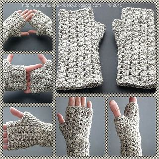 These fingerless mitts were crocheted in a simple semi-lacy pattern. If you do not like Fishermen's wool, you can substitute with something soft, or even combine two yarns - DK + Fingering weights.