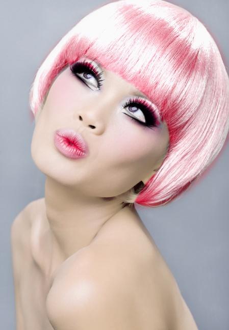 Pink bob hair and lips
