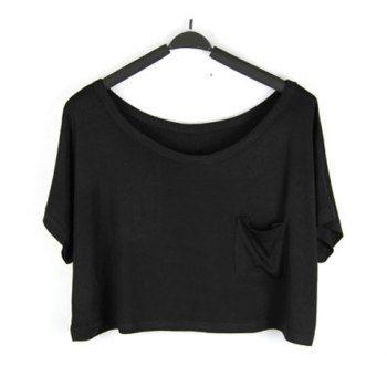 Casual Solid Color Splicing Pocket Modal Cotton Women's Bikini T-Shirt, BLACK