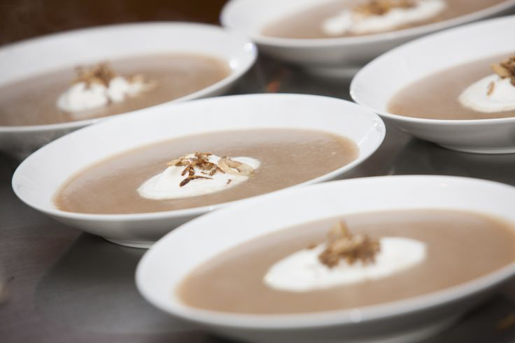 ROASTED CHESTNUT SOUP with crispy cinnamon shallots and Chantilly