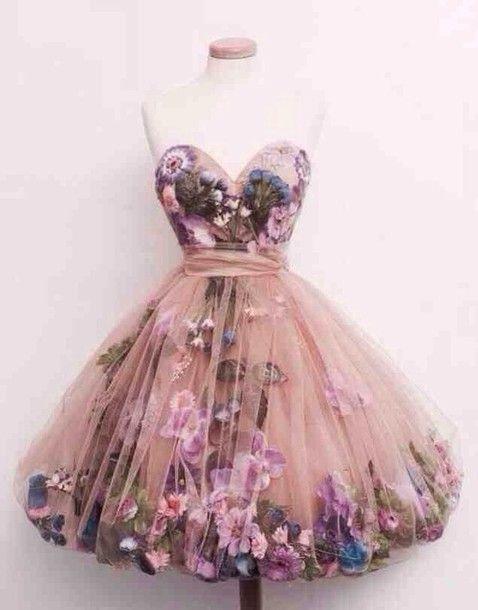 pink princess hippie | dress prom dress pink hipster flowers short romantic fashion floral ...