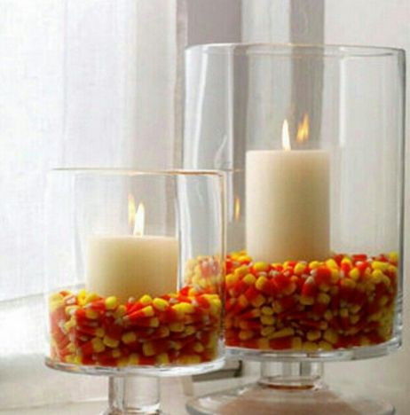 Halloween ideas, Halloween decorations, home organization tips, organizing, organizing tips, candy corn, candles, orange and yellow decor,