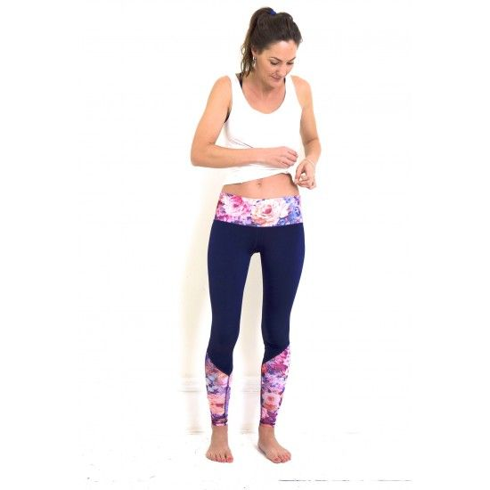 TEVITA OM CONTRAST PRINT YOGA TIGHTS- navyyoga | activewear | yogawear | pilates | gym | health | fitness | boho | wellness | positive energy | spiritual | well being |yoga photography | pool | rice fields |  made in Bali | ethical | social responsibility | Ubud | Tevita lifestyle