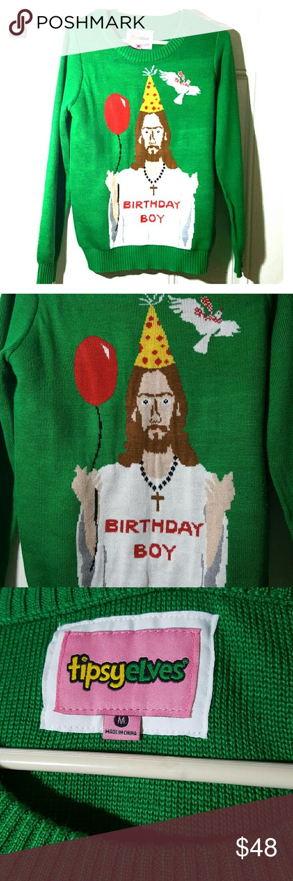 Tipsy Elves green Jesus birthday boy sweater Tipsy elves  Size M Green   Jesus birthday boy wearing a party hat & holding a balloon! Perfect fun christmas sweater.  Excellent like new condition!  ➡ Same day shipping! Monday through Saturday!⬅ 🚩 Cross-posted 🚩 Tipsy Elves Sweaters