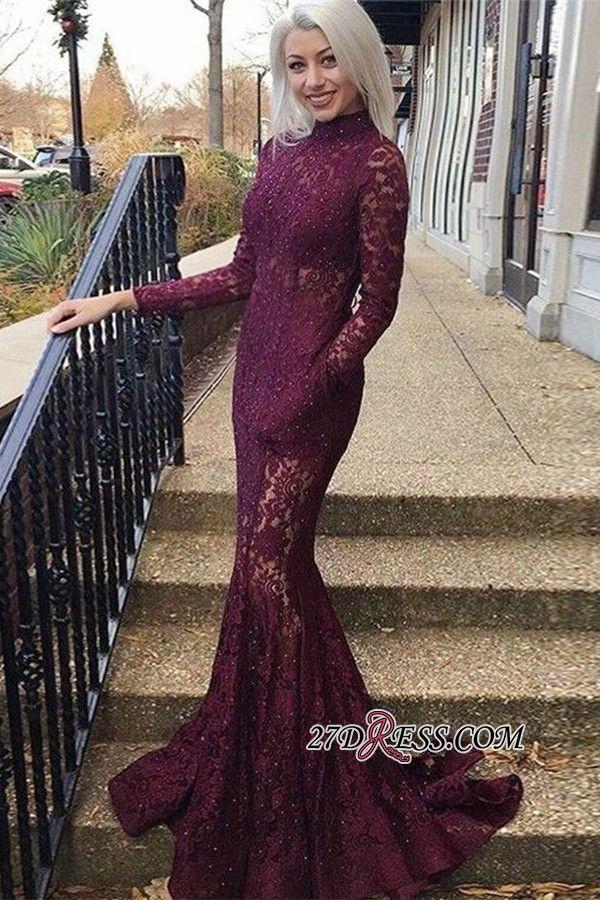 f527c80ac4 Elegant Long Sleeves High Neck Lace Formal Dresses