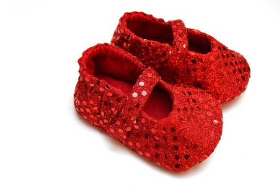 DOROTHY baby girl glitter and sequins shoes, mary jane baby booties with soft sole, Red ruby slippers, Christmas baby girl booties on Etsy, $20.25