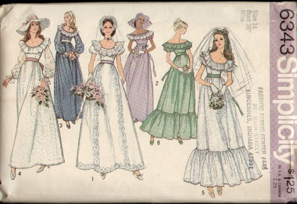 1000 images about 1970s wedding dress patterns on for Wedding dress patterns vintage
