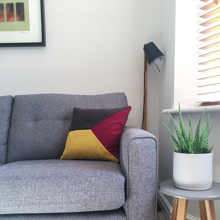 Bespoke geometric handmade cushion. Scandi style living room