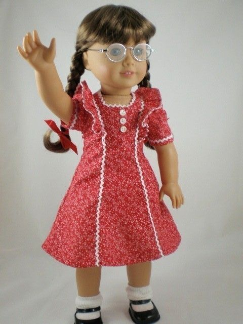 American Girl doll Molly 1940's | 1940s School Dress for Molly American Girl doll red