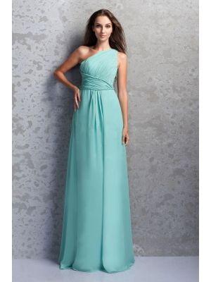 Chiffon Bodenlang Asymmetrisch|Ein Schulter Elegant|Bescheiden Brautjungfernkleider Günstig