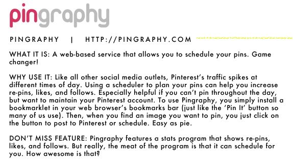 pingraphy let's you get stats on your pins and schedule them in advance (to avoid a pin avalanche!)