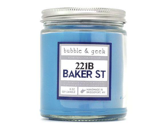 221B Baker Street Scented Soy Candle - 8 oz. jar - Sherlock Holmes----- oooooh!!!
