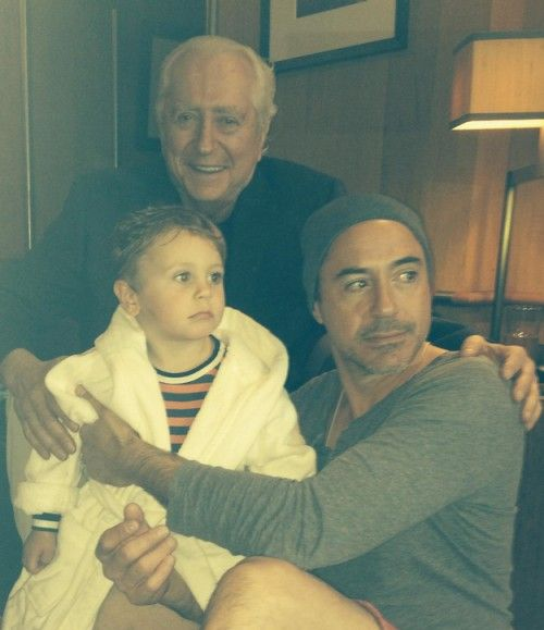 Robert Downey Sr, Robert Downey Jr and Exton Elias Downey. The handsome genes run in the family.