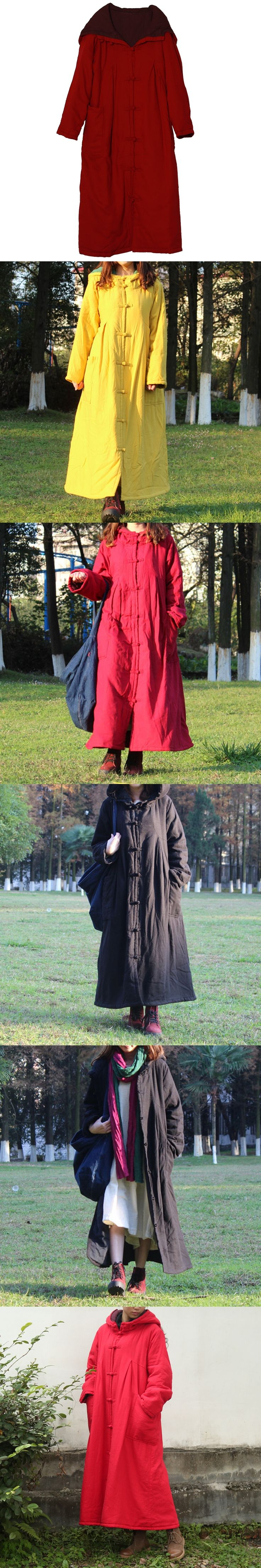 Vintage Chinese Winter Coat Slub Linen Women Hooded Long Coats Cotton Quilt Trench Coat Long Sleeve Robe Manteau Femme Abrigos
