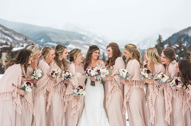 Nude Winter Bridesmaid Dresses and Blanket Shawls