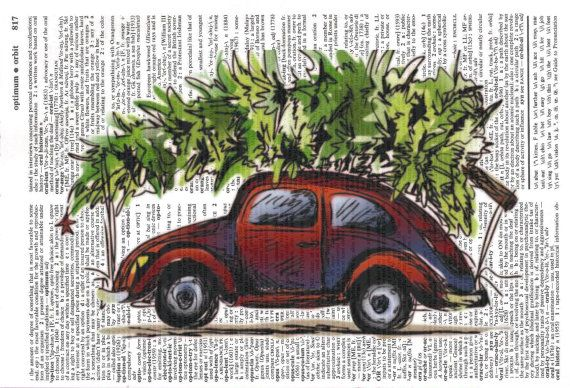 Car Hauling Christmas Tree  VW  Dictionary by MapleTreeProductions, $8.00