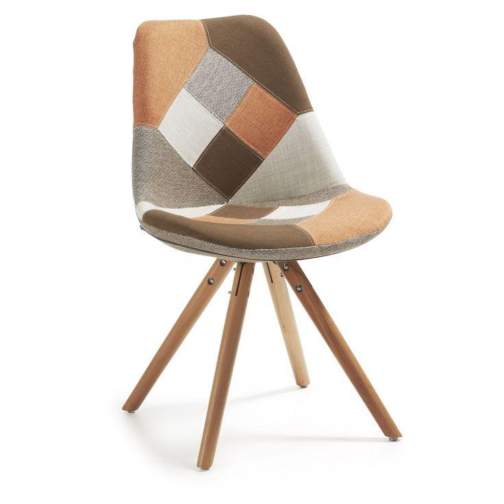 Set van 4 stoelen Ralf hout/stof - patchwork oranje